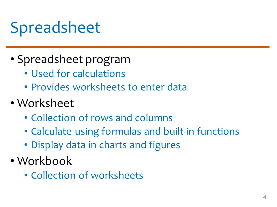 Advantages of spreadsheet Spreadsheet Increases the ease and speed of calculations Easy to modify and recalculate data automatically Display numeric data as charts or graphs 5