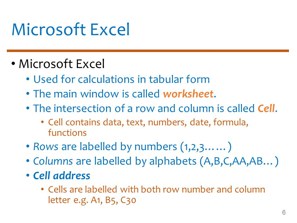 MS Excel Interface Worksheet 256 columns and 65,536 rows in a worksheet Workbook By default, 3 worksheets in a workbook First sheet; sheet1 then second; sheet2, etc.
