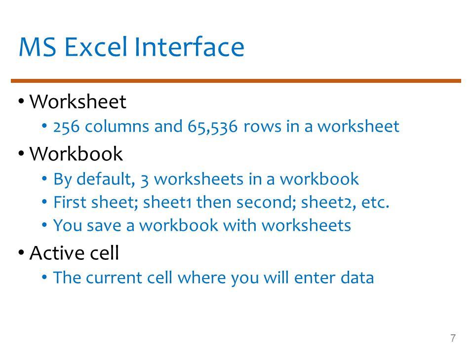 MS Excel Window 8