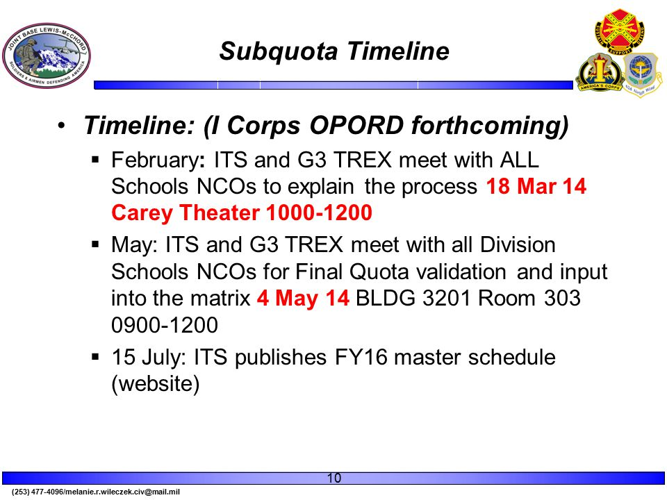(253) 477-4096/melanie.r.wileczek.civ@mail.mil Subquota Timeline 10 Timeline: (I Corps OPORD forthcoming)  February: ITS and G3 TREX meet with ALL Schools NCOs to explain the process 18 Mar 14 Carey Theater 1000-1200  May: ITS and G3 TREX meet with all Division Schools NCOs for Final Quota validation and input into the matrix 4 May 14 BLDG 3201 Room 303 0900-1200  15 July: ITS publishes FY16 master schedule (website)