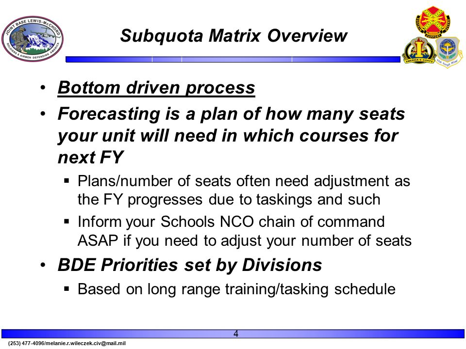(253) 477-4096/melanie.r.wileczek.civ@mail.mil Subquota Matrix Overview Bottom driven process Forecasting is a plan of how many seats your unit will need in which courses for next FY  Plans/number of seats often need adjustment as the FY progresses due to taskings and such  Inform your Schools NCO chain of command ASAP if you need to adjust your number of seats BDE Priorities set by Divisions  Based on long range training/tasking schedule 4