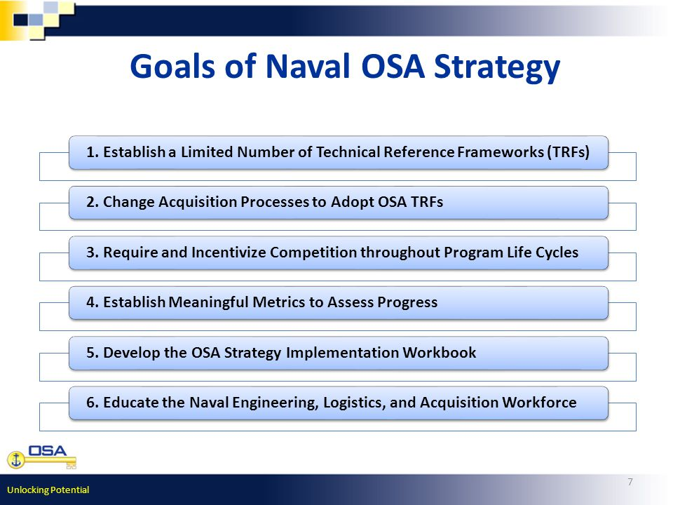 Unlocking Potential 7 Goals of Naval OSA Strategy 1.