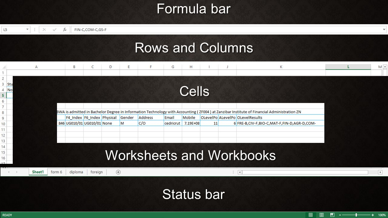 Formula bar Rows and Columns Cells Worksheets and Workbooks Status bar