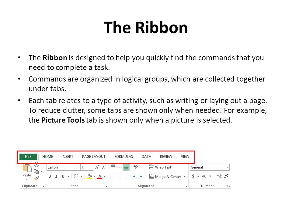 Backstage View Click on the File tab to display the Backstage view The Ribbon contains the set of commands for working in a document, while the Microsoft Office Backstage view is the set of commands you use to do things to a document.