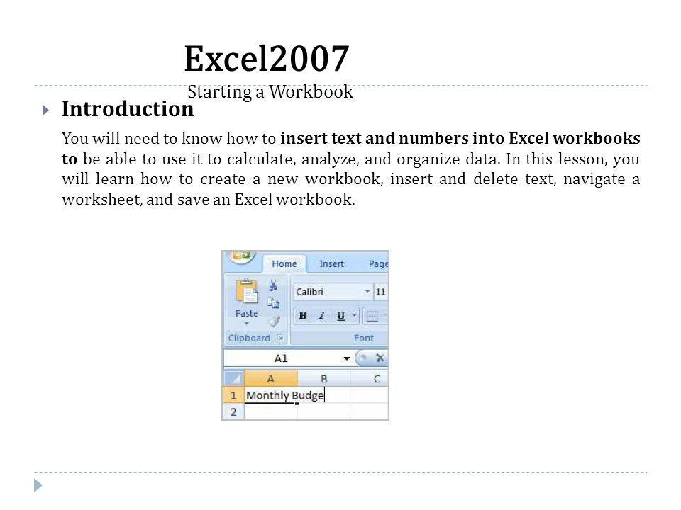  Introduction You will need to know how to insert text and numbers into Excel workbooks to be able to use it to calculate, analyze, and organize data