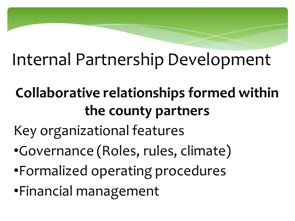 Internal Partnership Development Collaborative relationships formed within the county partners Key organizational features Governance (Roles, rules, c
