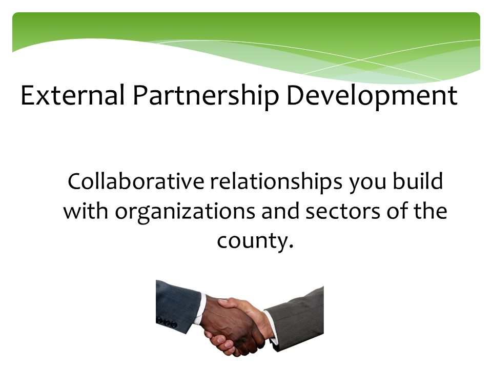 External Partnership Development Collaborative relationships you build with organizations and sectors of the county.