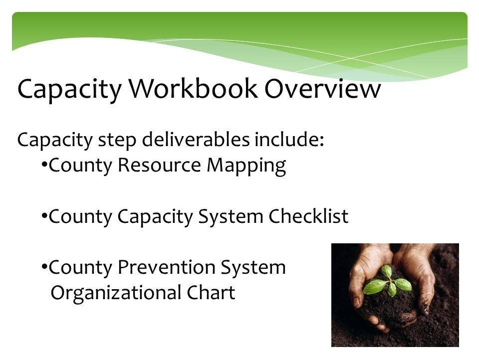 Capacity Workbook Overview Capacity step deliverables include: County Resource Mapping County Capacity System Checklist County Prevention System Organ