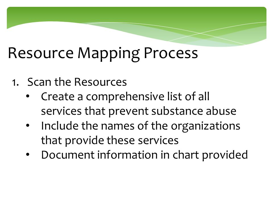 Resource Mapping Process 1.Scan the Resources Create a comprehensive list of all services that prevent substance abuse Include the names of the organizations that provide these services Document information in chart provided