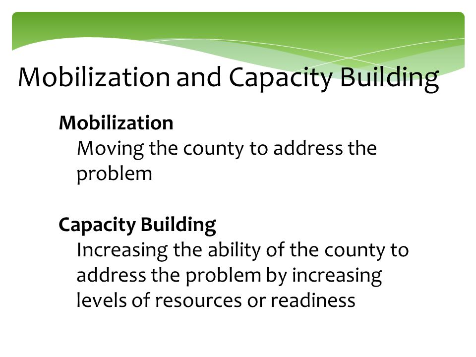 County Resource Mapping  Promotes county collaboration through aligning services  Sometimes referred to as asset mapping or environmental scans