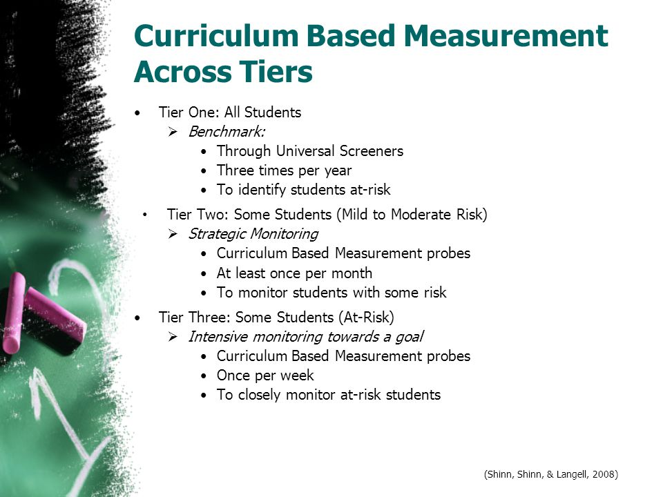 Curriculum Based Measurement Across Tiers Tier One: All Students  Benchmark: Through Universal Screeners Three times per year To identify students at