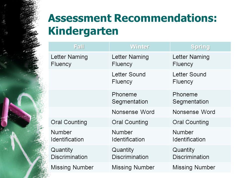 Assessment Recommendations: Kindergarten FallWinterSpring Letter Naming Fluency Letter Sound Fluency Phoneme Segmentation Nonsense Word Oral Counting