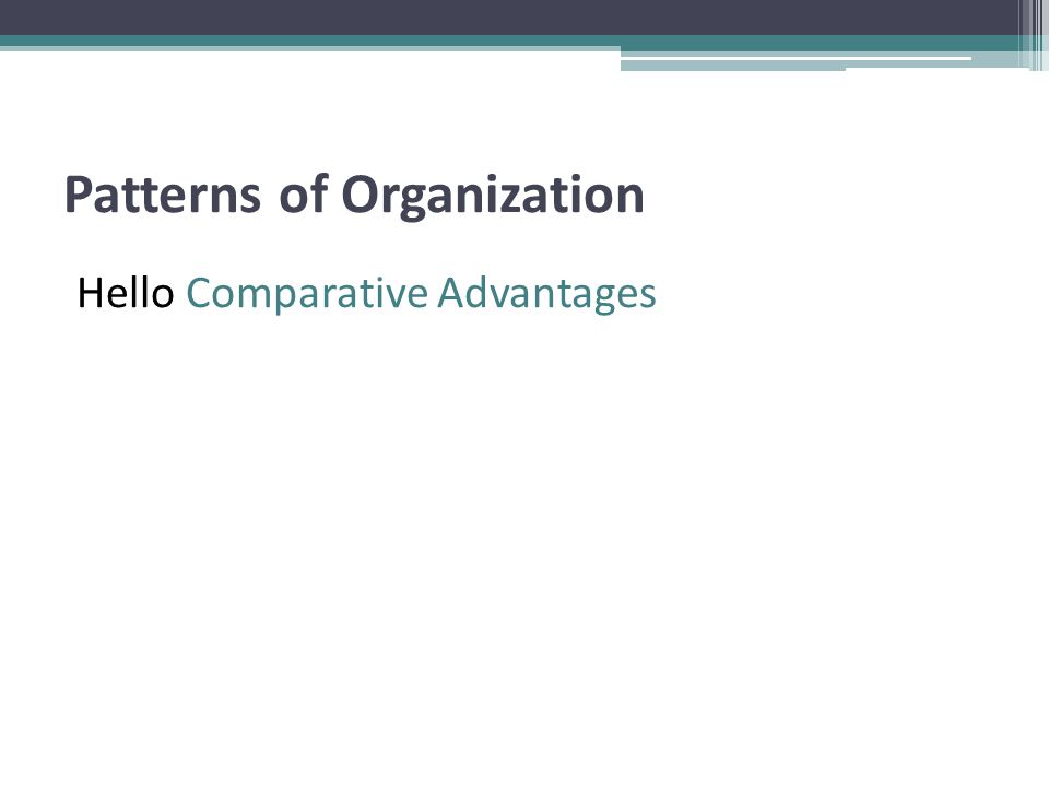 Patterns of Organization Hello Comparative Advantages
