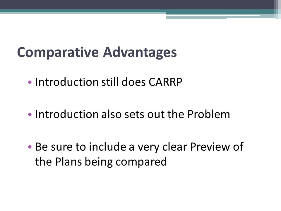 Introduction still does CARRP Introduction also sets out the Problem Be sure to include a very clear Preview of the Plans being compared Comparative Advantages