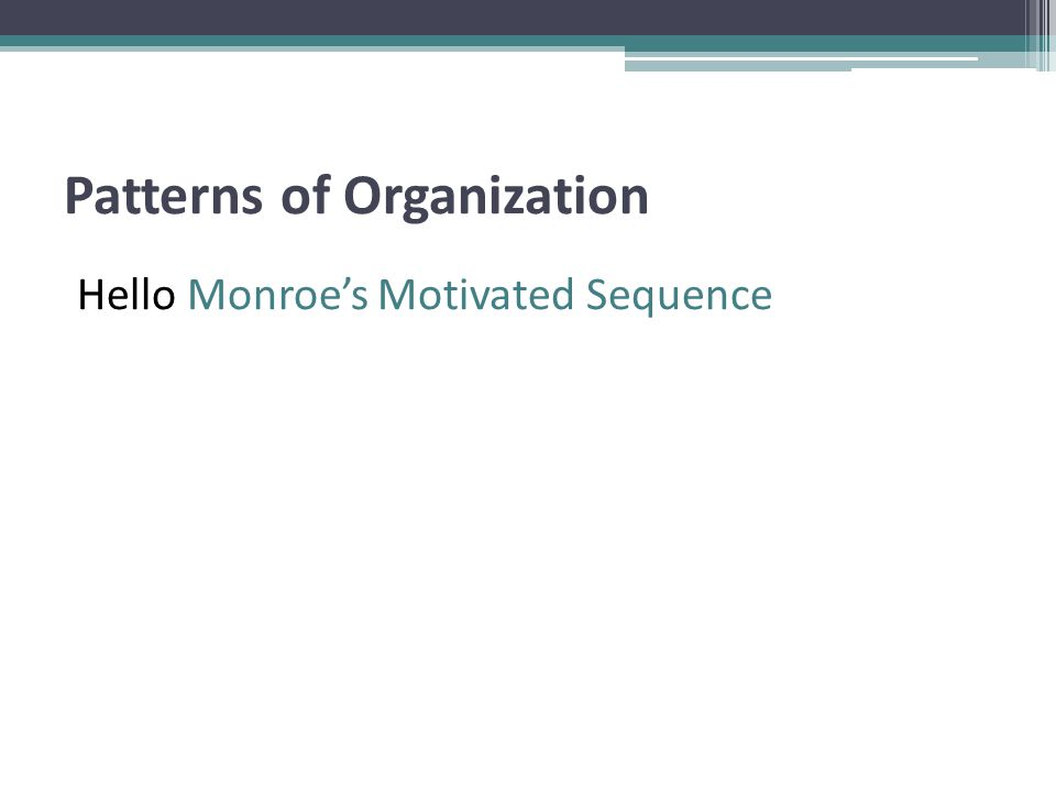 Patterns of Organization Hello Monroe's Motivated Sequence