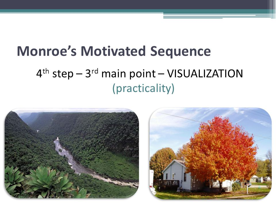 Monroe's Motivated Sequence 4 th step – 3 rd main point – VISUALIZATION (practicality)