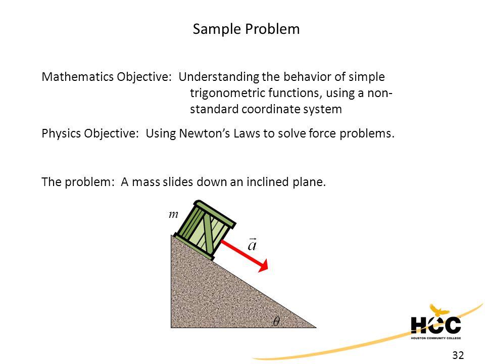 32 Sample Problem Mathematics Objective: Understanding the behavior of simple trigonometric functions, using a non- standard coordinate system Physics