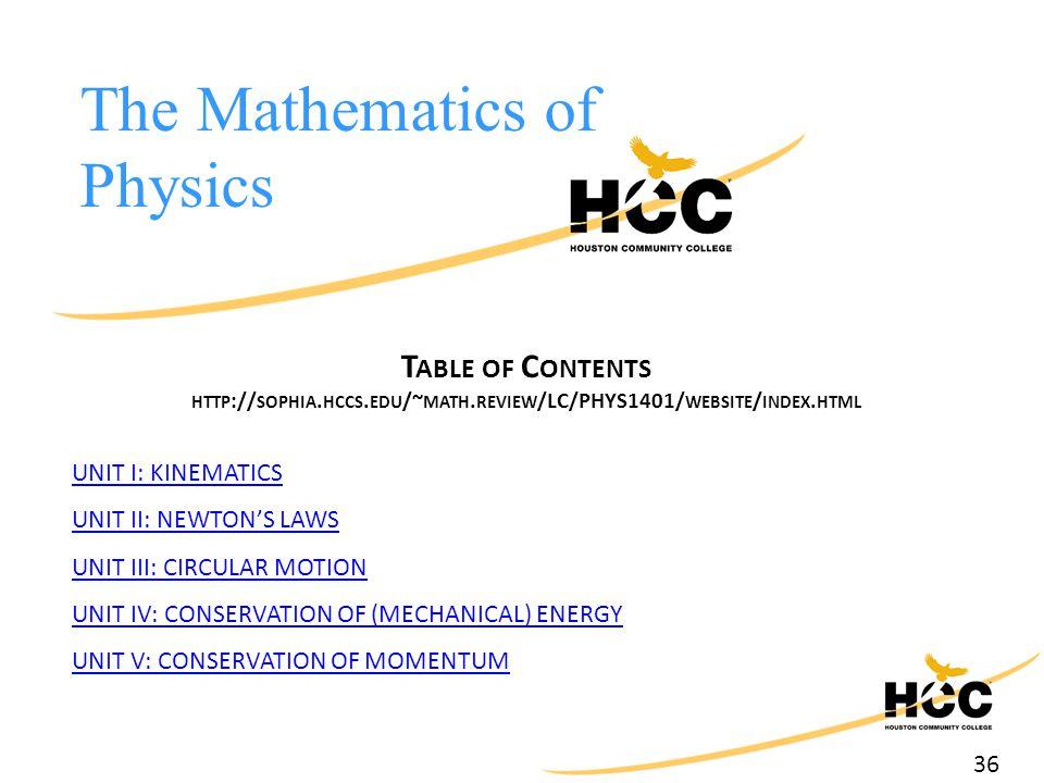 36 The Mathematics of Physics T ABLE OF C ONTENTS HTTP :// SOPHIA. HCCS. EDU /~ MATH. REVIEW /LC/PHYS1401/ WEBSITE / INDEX. HTML UNIT I: KINEMATICS UN