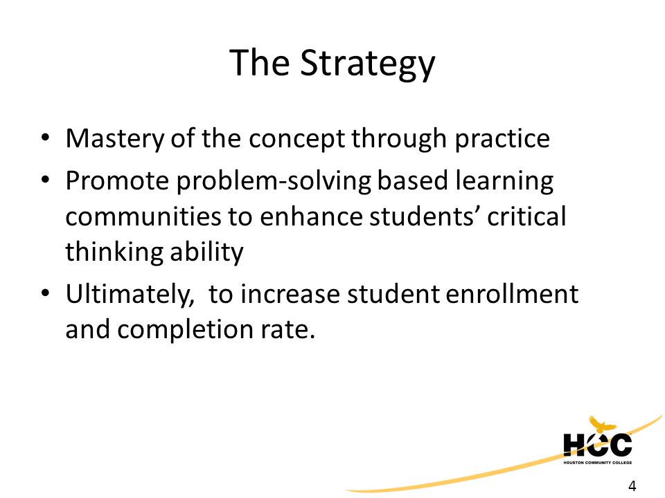 4 The Strategy Mastery of the concept through practice Promote problem-solving based learning communities to enhance students' critical thinking abili