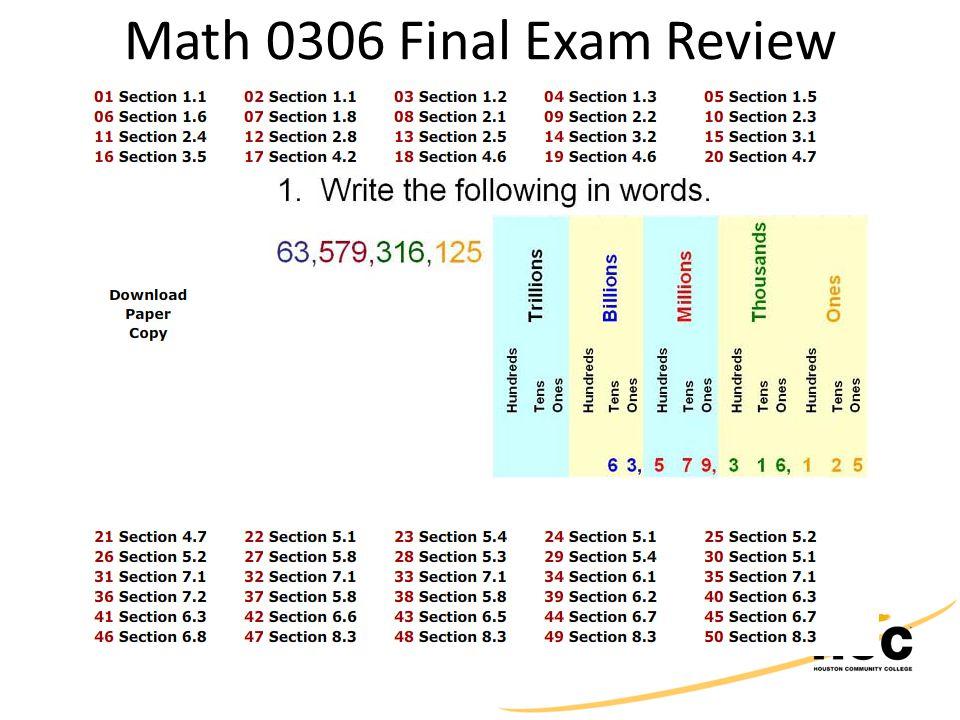 Math 0306 Final Exam Review