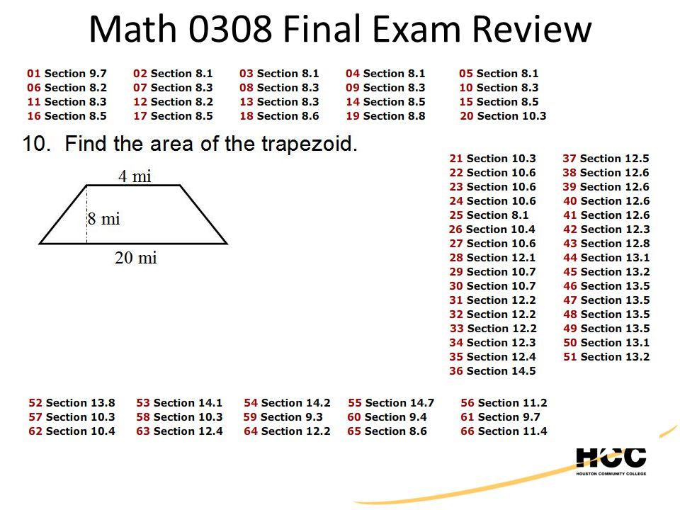 Math 0308 Final Exam Review