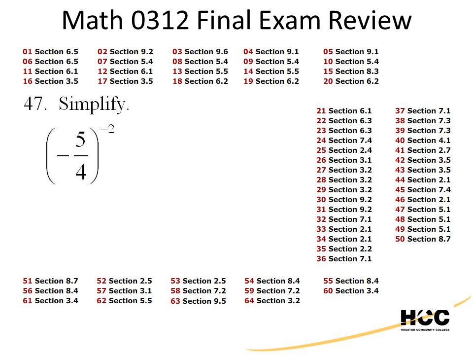 Math 0312 Final Exam Review