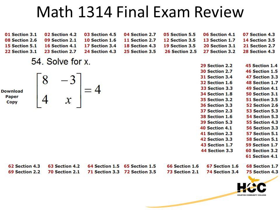 Math 1314 Final Exam Review