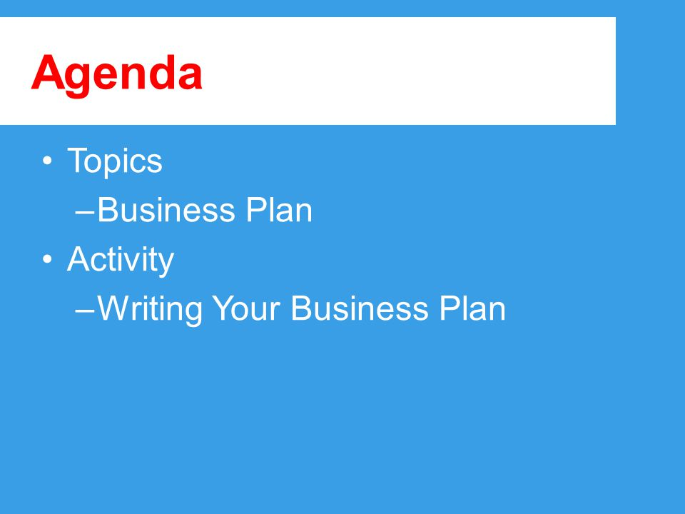 Agenda Topics –Business Plan Activity –Writing Your Business Plan