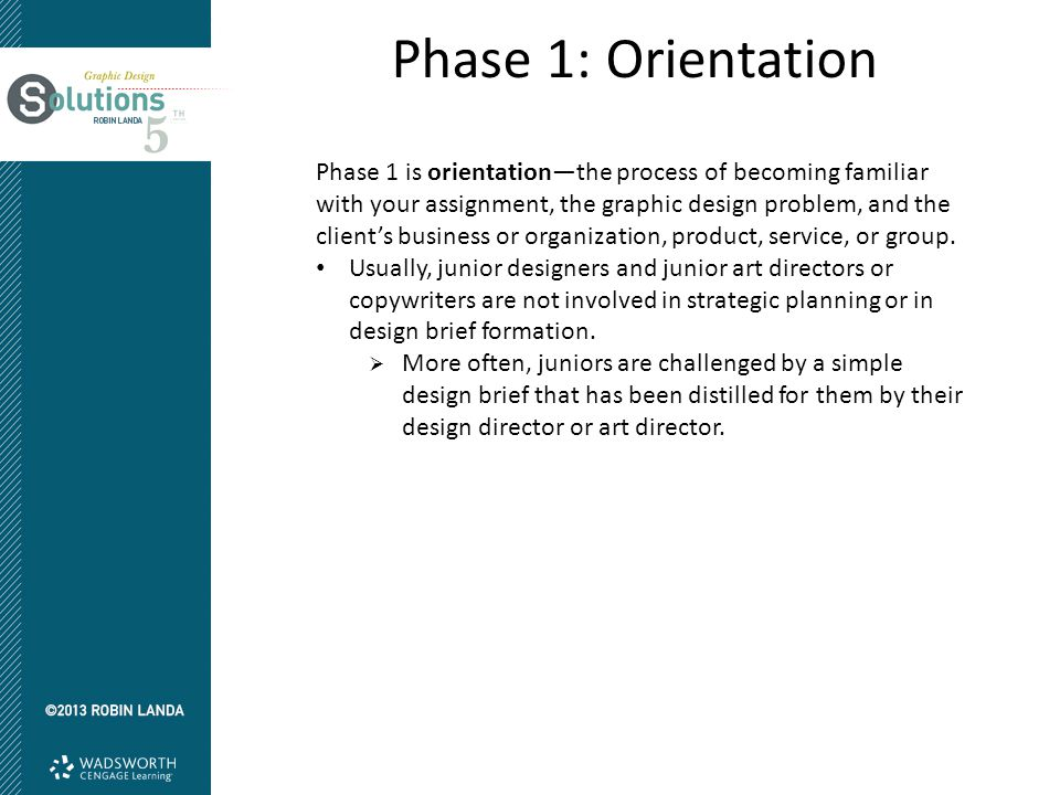 Phase 1: Orientation Phase 1 is orientation—the process of becoming familiar with your assignment, the graphic design problem, and the client's busine