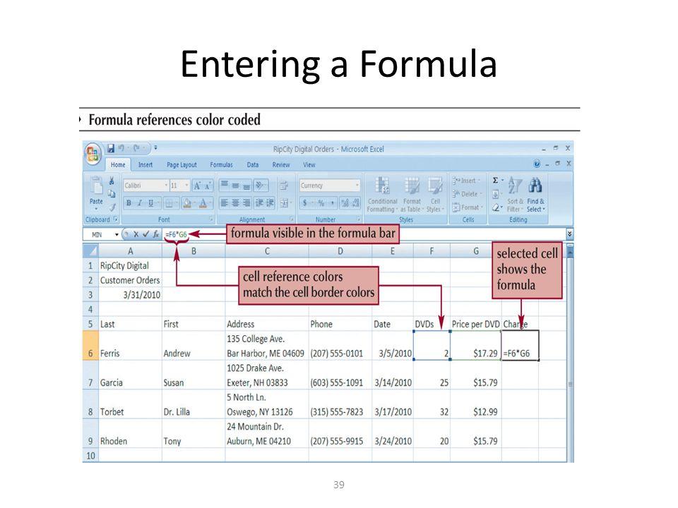 Entering a Formula 39