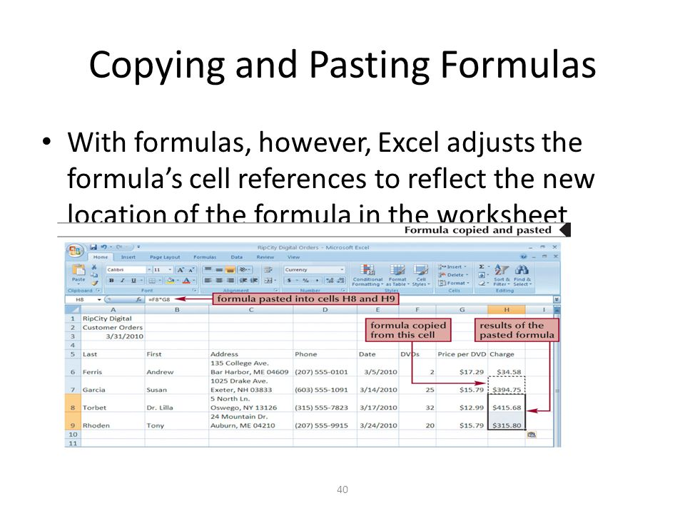 Copying and Pasting Formulas With formulas, however, Excel adjusts the formula's cell references to reflect the new location of the formula in the worksheet 40
