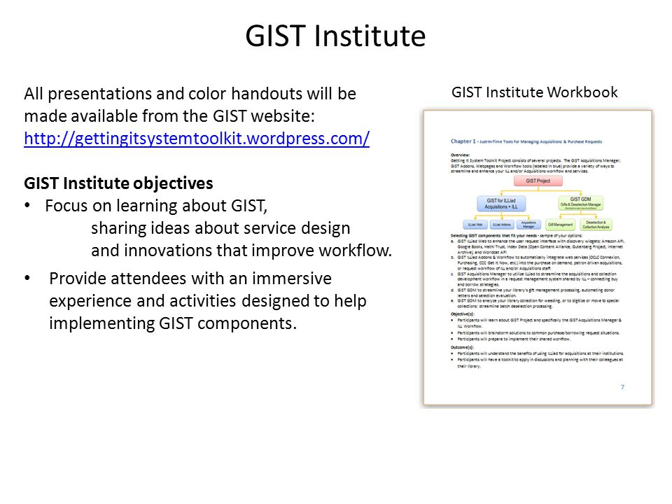 GIST Institute All presentations and color handouts will be made available from the GIST website: http://gettingitsystemtoolkit.wordpress.com/ http://