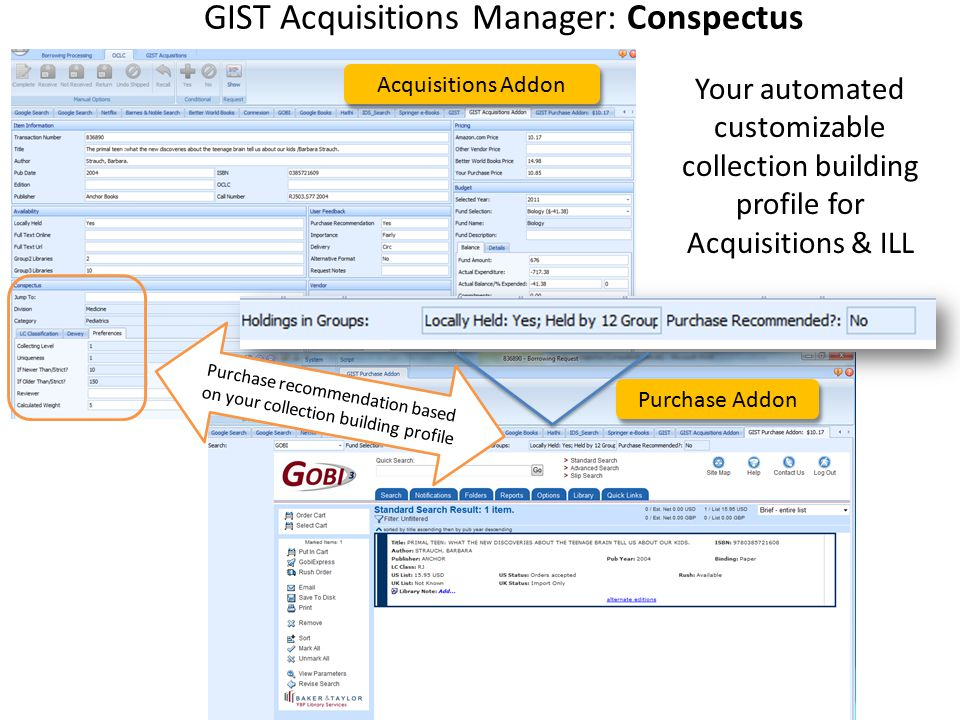 GIST Acquisitions Manager: Conspectus Purchase Addon Acquisitions Addon Purchase recommendation based on your collection building profile Your automat