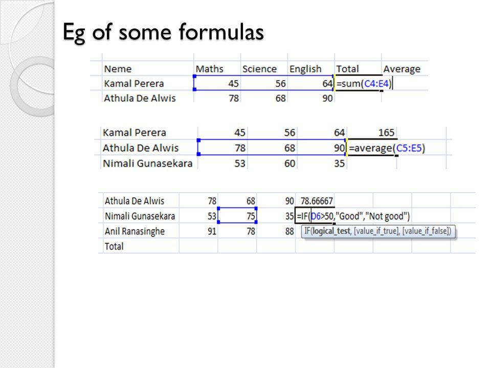 Eg of some formulas