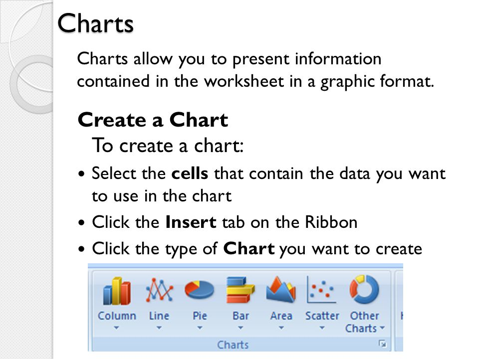 Charts Create a Chart To create a chart: Select the cells that contain the data you want to use in the chart Click the Insert tab on the Ribbon Click