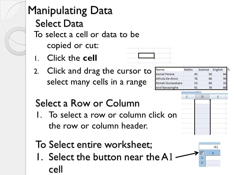 Manipulating Data To select a cell or data to be copied or cut: 1. Click the cell 2. Click and drag the cursor to select many cells in a range Select