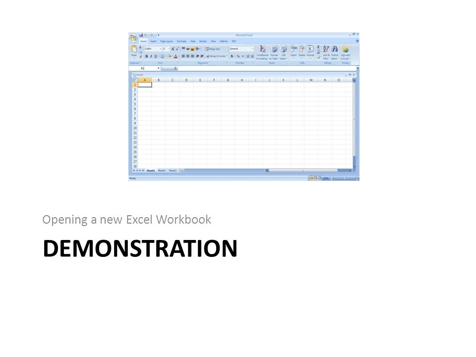 DEMONSTRATION Opening a new Excel Workbook