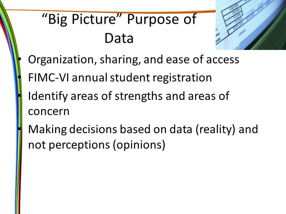 Big Picture Purpose of Data Organization, sharing, and ease of access FIMC-VI annual student registration Identify areas of strengths and areas of concern Making decisions based on data (reality) and not perceptions (opinions)