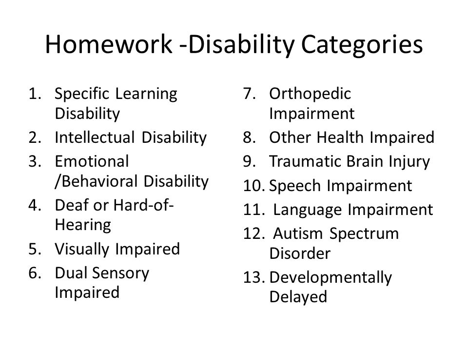 Homework -Disability Categories 1.Specific Learning Disability 2.Intellectual Disability 3.Emotional /Behavioral Disability 4.Deaf or Hard-of- Hearing 5.Visually Impaired 6.Dual Sensory Impaired 7.Orthopedic Impairment 8.Other Health Impaired 9.Traumatic Brain Injury 10.Speech Impairment 11.