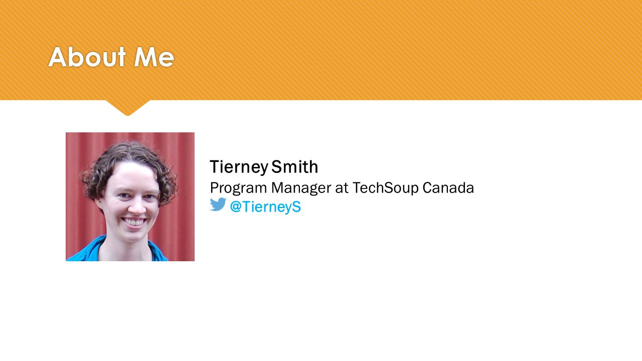 Tierney Smith Program Manager at TechSoup Canada @TierneyS About Me