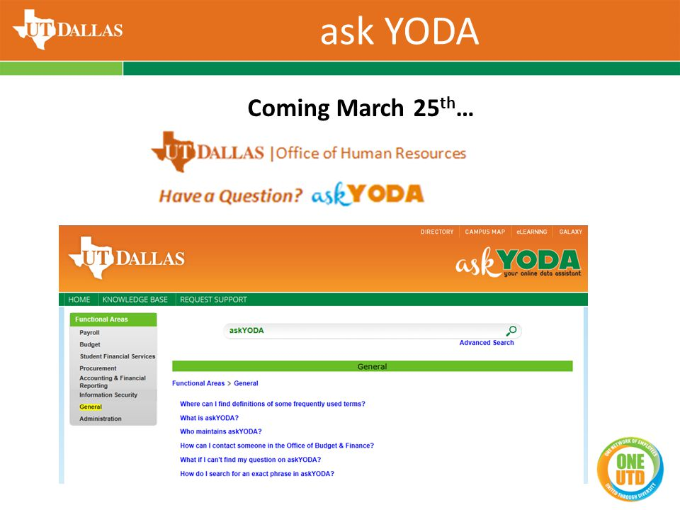 ask YODA Coming March 25 th …