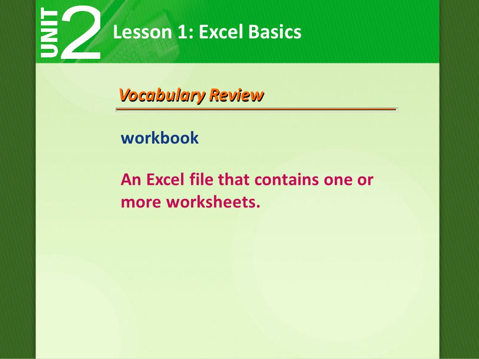 Lesson 1: Excel Basics Vocabulary Review workbook An Excel file that contains one or more worksheets.