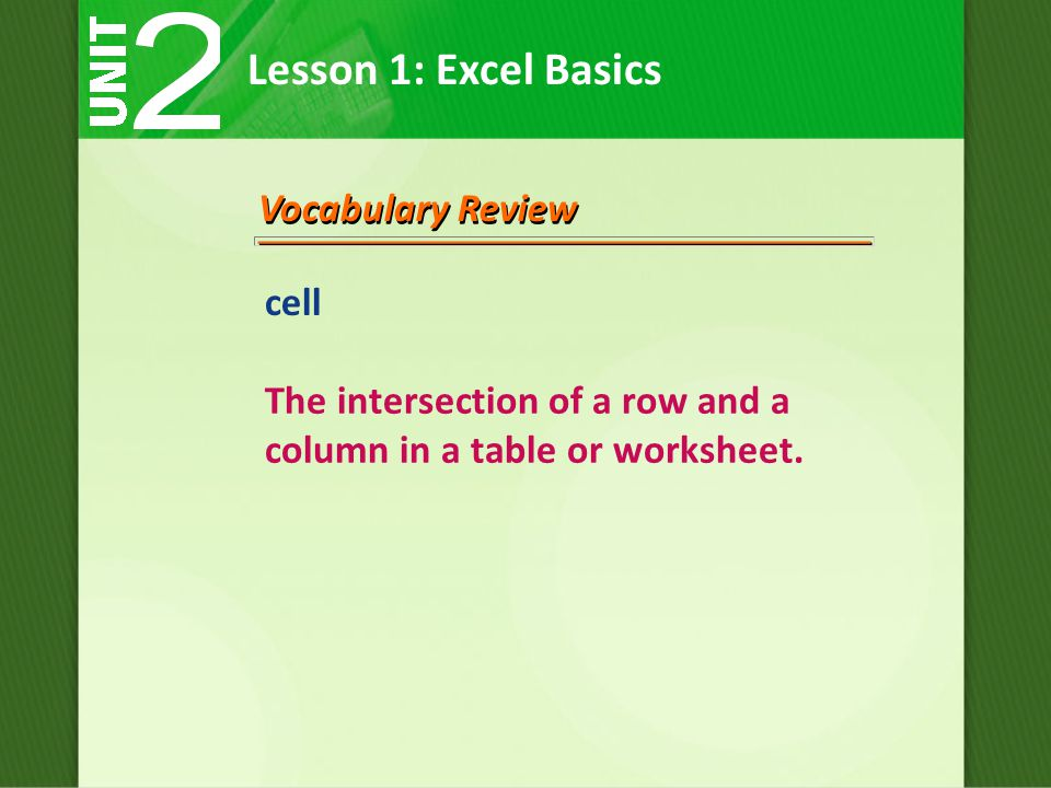 Lesson 1: Excel Basics Vocabulary Review cell The intersection of a row and a column in a table or worksheet.