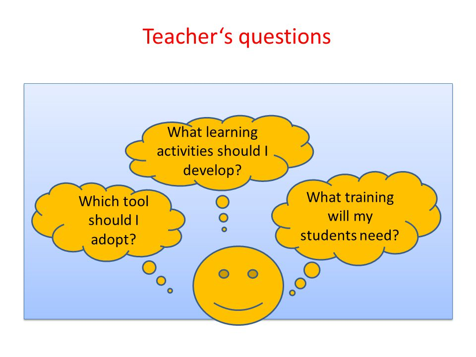 Teacher's questions What training will my students need.