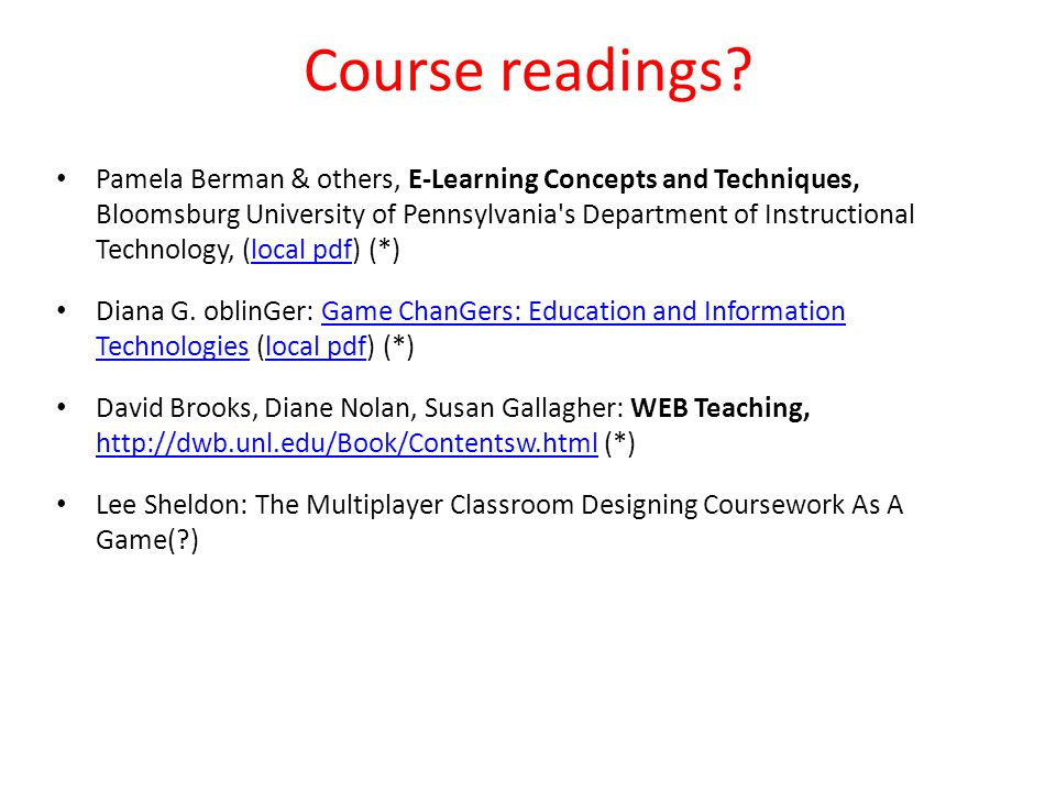 Course readings.