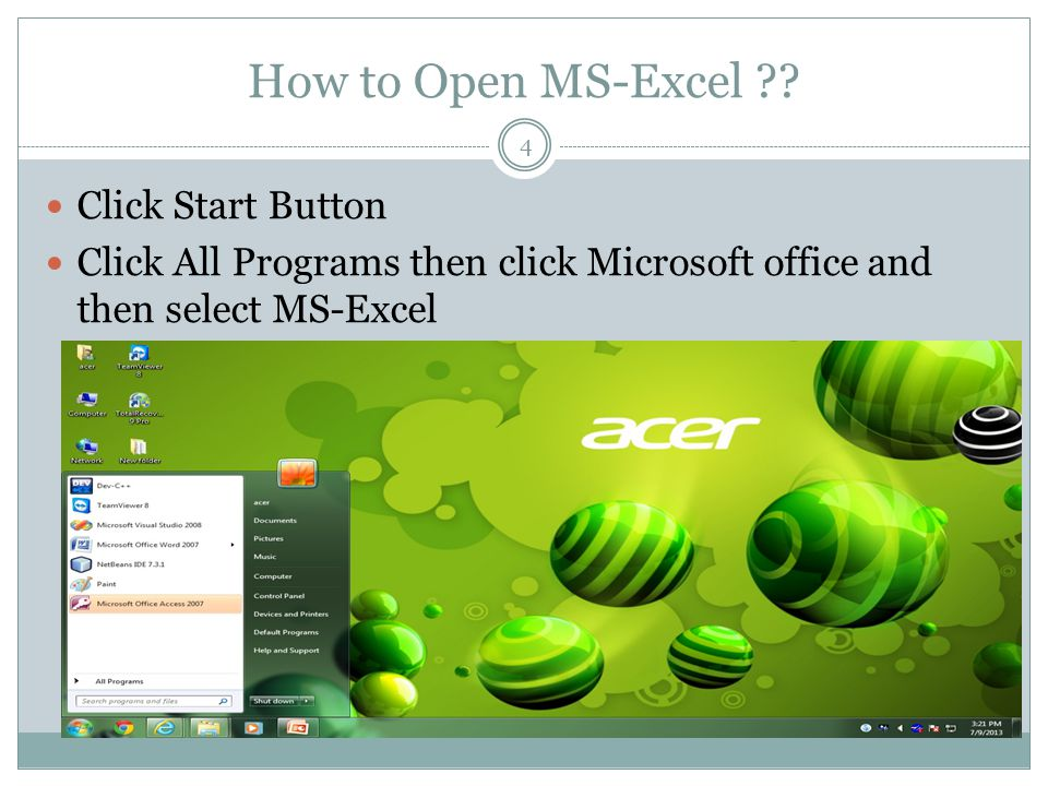 Home Screen Of MS-Excel 5