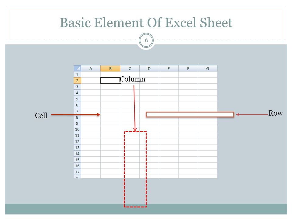 Basic Element Of Excel Sheet 6 Cell Row Column