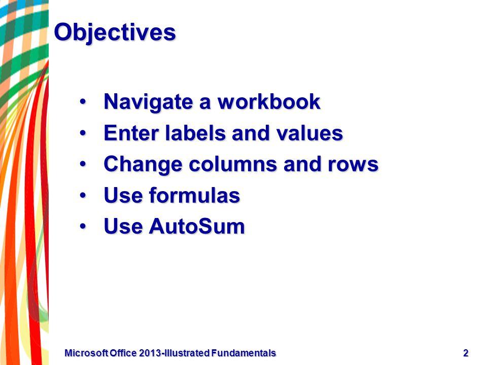 Objectives Navigate a workbookNavigate a workbook Enter labels and valuesEnter labels and values Change columns and rowsChange columns and rows Use fo