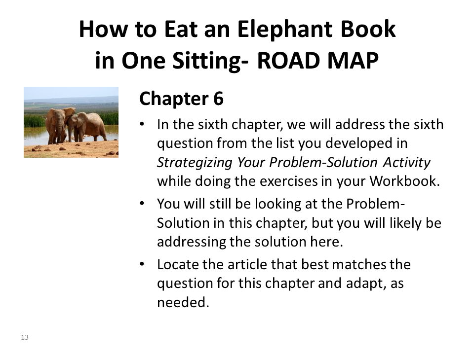 Chapter 6 In the sixth chapter, we will address the sixth question from the list you developed in Strategizing Your Problem-Solution Activity while doing the exercises in your Workbook.