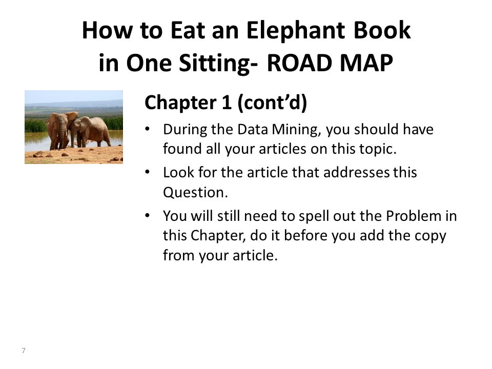 Chapter 1 (cont'd) During the Data Mining, you should have found all your articles on this topic.